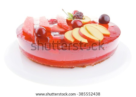 image of cold red jelly pie with apricot and watermelon - stock photo