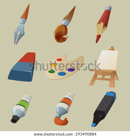 Image of collection of draw icons - stock photo