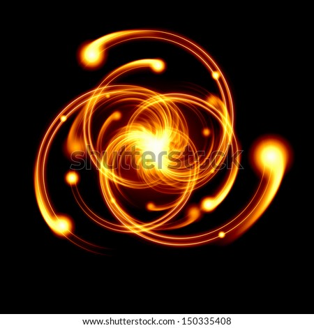 Image of color atoms and electrons. Physics concept - stock photo