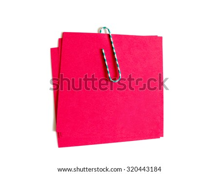 Image of color paper clip with red paper isolated on white background. Clipping path included. - stock photo