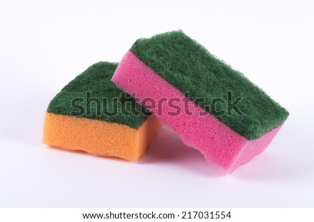 Image of color sponges isolated close up