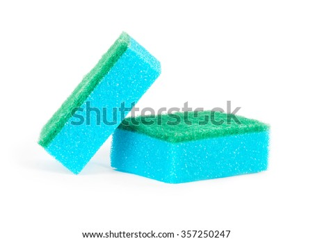 Image of colored sponges isolated close up.