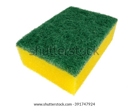 Image of colored sponges isolated close up / cleaners, detergents, household cleaning sponge for cleaning / cleaning sponge with scrub isolated on white background - stock photo