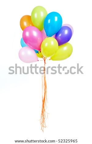 Image of colorful balloons in isolation against white background - stock photo