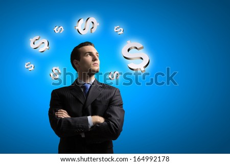 Image of confident businessman with arms crossed on chest - stock photo