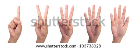 Image of Counting woman hands (1 to 5) isolated on white background