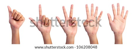 Image of Counting woman's left hands finger number (1 to5 ) isolated on white background