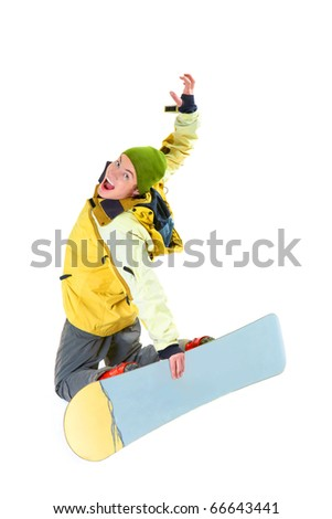 Image of courageous guy jumping on snowboard in the air - stock photo