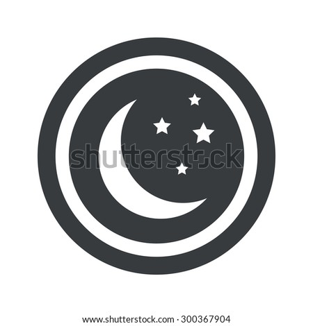 Image of crescent moon and stars in circle, on black circle, isolated on white