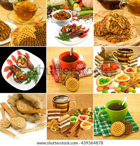 image of cup of tea, biscuits, wheat, stews, candy close up