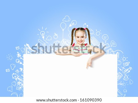 Image of cute girl with blank white banner. Place for text - stock photo
