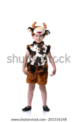 Image of cute little boy posing in goby suit - stock photo
