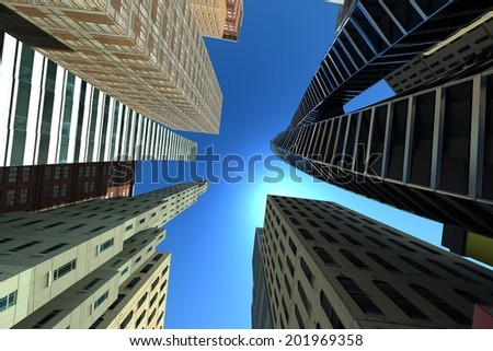 image of 3d render of skyscraper building looking at top view - stock photo