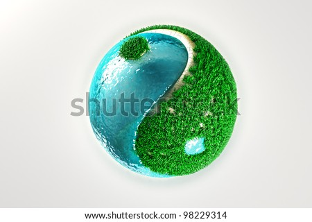 image of 3d render of yin yang with grass and water - stock photo
