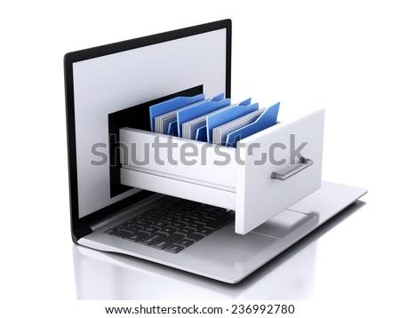image of 3d renderer illustration. Laptop and files. Data storage.  - stock photo