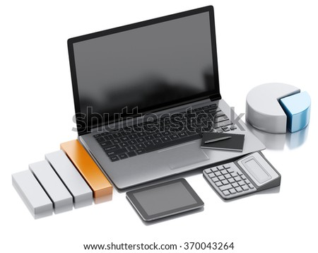 image of 3d renderer illustration. view of office working place elements on isolated white background. Business concept