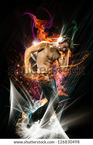 Image of Dancer with Headphones over abstract colorful background