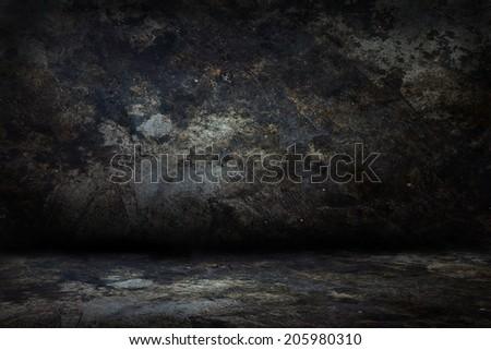 Image of dark concrete wall and floor - stock photo