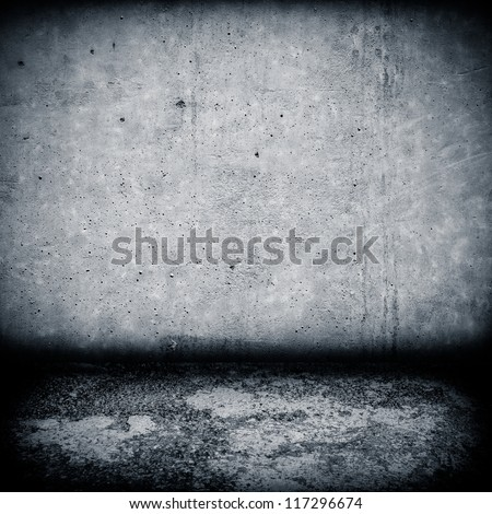 Image of dark industrial concrete wall and floor as background - stock photo