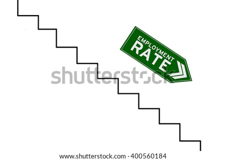 Image of declining arrow sign with reduction graph of employment rate, isolated on white background - stock photo