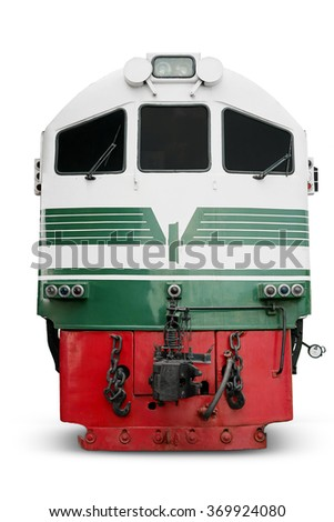 Image of diesel locomotive with red and green color, isolated on white background