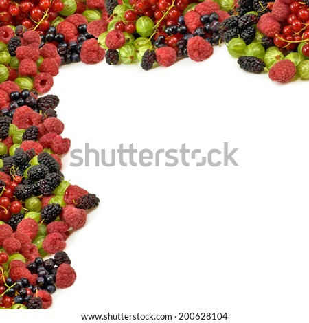 image of different berries on a white background closeup - stock photo