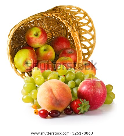image of different fruits in a basket close- up - stock photo