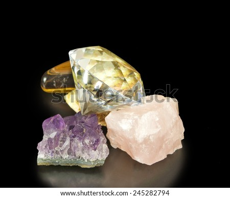 image of different stones on a black background - stock photo