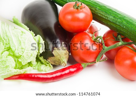 Image of different vegetables on white - stock photo