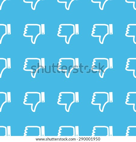 Image of dislike symbol, repeated in straight lines on blue background - stock photo