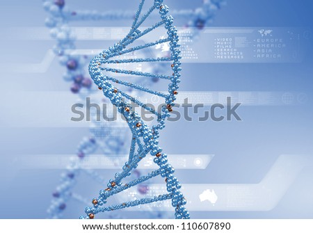 Image of DNA strand against colour background - stock photo