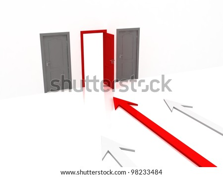 Image of doors and arrow. Make your choice - stock photo