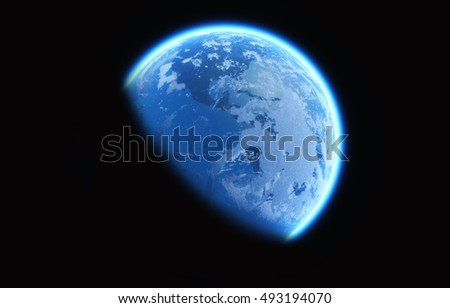 Image of earth glowing in the space. This is a 3d render  illustration