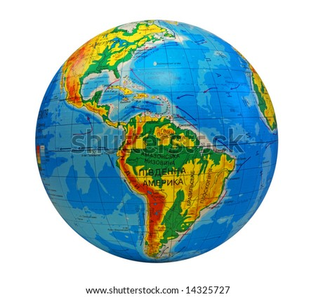 image of earth in a center south America with inscriptions in Ukrainian language