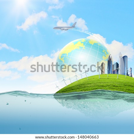 Image of earth planet floating in water. Global warming