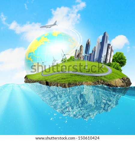 Image of earth planet floating in water. Global warming - stock photo