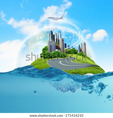 Image of earth planet floating in water. Global warming. Elements of this image are furnished by NASA
