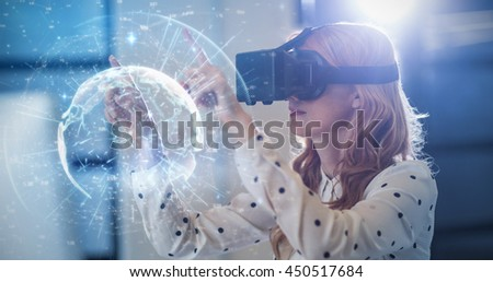 Image of earth with different times against woman wearing virtual reality glass - stock photo