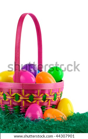 Image of Easter basket with colored eggs