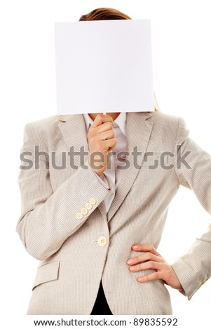 Image of elegant female holding empty paper close to her face - stock photo