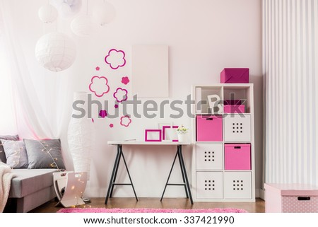 Image of fashionable room with modern child furniture - stock photo