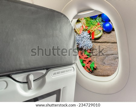 image of  fasten seat belt while seated sign on airplane during Christmas vacation