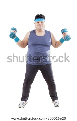 Image of fat man standing and exercising with two barbells, isolated on the white background