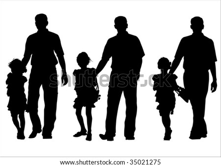 image of father and daughter for a walk. Silhouette on white background