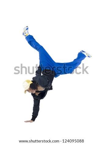 Image of female dancer making dance step against white background - stock photo