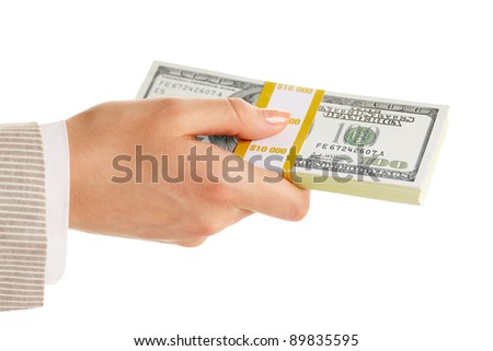 Image of female hand holding dollar bill on a white background