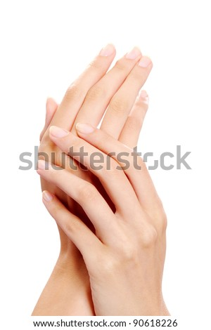 Image of female manicured hands on white background