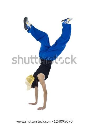 Image of female modern dancer making dance step against white background - stock photo