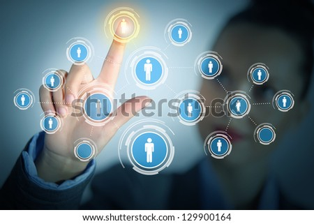 Image of female touching virtual icon of social network