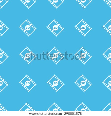 Image of film strip with text 3D, repeated in straight lines on blue background - stock photo